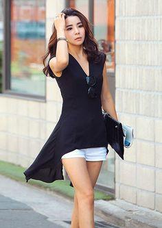 [JJ011] เสื้อแฟชั่นเกาหลี ตัวยาว แขนกุด สไตล์สาวมั่นใจ | SoMoreMore.Com