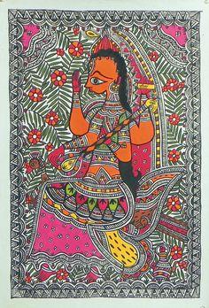 Goddess Saraswati (Madhubani Folk Art on Paper - Unframed)