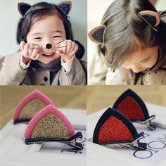 2015 recién llegado de diseño orejas de gato horquillas del pelo de calidad superior 6 colores lindas apretones del pelo Barrette para bebés fieltro pinzas de pelo Clips 2 pares(China (Mainland))