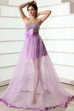 A-line Strapless Crystal And Beadings Bowknot Transperant Tulle Prom Gowns