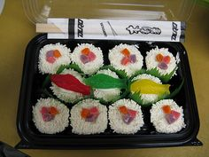 Sushi cupcakes. I would have never thought of white sprinkles for rice. Definitely making these!!!!
