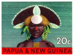 1968 Papua New Guinea Headress 20c Postage Stamp,papua,guinea,oceania,headdress,native,paradise,vintage,postage,stamp,mail,ephemera,island,costume,feathers,tribe,tribal,jungle,festival,ceremonial