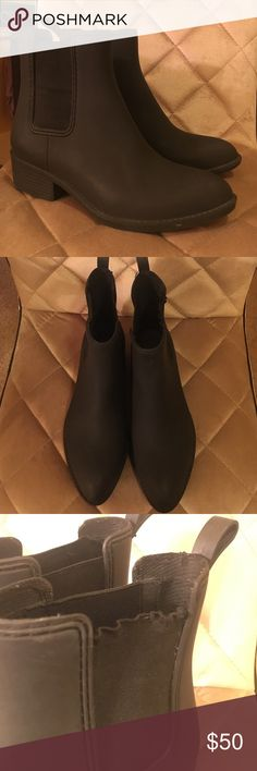 Jeffrey Campbell Rain Booties Matte black rain booties! Great condition, small wrinkle in fabric on one of the boots (pictured) Jeffrey Campbell Shoes Winter & Rain Boots