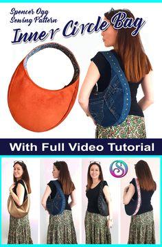Sewing Hacks, Sewing Tutorials, Sewing Projects, Video Tutorials, Sewing Tips, Hobo Bag Patterns, Inner Circle, New Bag, Pdf Sewing Patterns