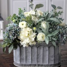 for Teri~Farmhouse Decor~Table Centerpiece~Hydrangea Arrangement~Blue and Creamy White Hydrangeas in a Galvanized Pail Beautiful blue and creamy white hydrangea centerpiece. by mandyBeautiful blue and creamy white hydrangea centerpiece. by mandy White Hydrangea Centerpieces, Table Centerpieces, Table Decorations, White Hydrangeas, Centerpiece Wedding, Centrepieces, Dining Room Centerpiece, Centerpiece Flowers, Blue Hydrangea
