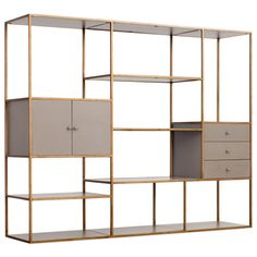 Emerson Bookshelf w/ Drawers & Cabinet in Antique Gold desig.- Emerson Bookshelf w/ Drawers & Cabinet in Antique Gold design by Redfo - Drawer Shelves, Bookcase Shelves, Glass Shelves, Display Shelves, Storage Shelves, Glass Bookshelves, Display Cabinets, Modern Bookcase, Modern Shelving