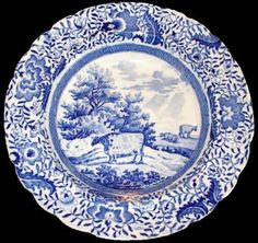 Durham Ox Series 10 inch plate, ca. 1820. The TCC Pattern and Source Print Database shows 9 patterns in the series. The maker is unknown.