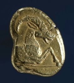 Electrum stater  (obverse). Greek. Minted in Ionia. 6th century B.C.   The…