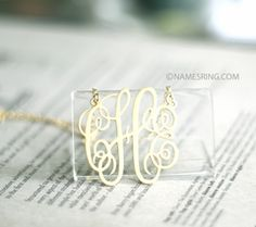 1.5  initial monogram 14K gold plated Sterling silver#Repin By:Pinterest++ for iPad#