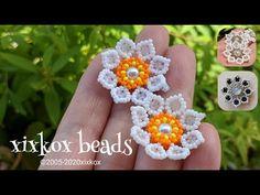 Seed Bead Earrings, Beaded Earrings, Crochet Earrings, Seed Beads, Beaded Flowers Patterns, Beading Patterns, Bracelet Patterns, Beading Techniques, Beading Tutorials