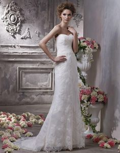 2012 Wholesale Simple Style Sweetheart Lace Satin Sweep Train Wedding Dress  Starting at: $296.99