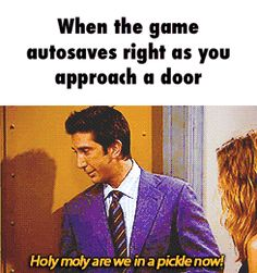 Or when the door slams shut and locks. aka every freaking boss. giving me a he… Or when the door slams shut and locks. Video Game Logic, Video Games Funny, Funny Games, Gamer Humor, Gaming Memes, Nerd Humor, Wii, Dc Memes, I Am Game