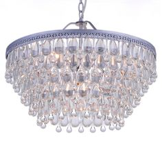 Dining. Wesley Crystal 6-light Chandelier with Clear Teardrop Beads - Overstock™ Shopping - Great Deals on Otis Designs Chandeliers & Pendants