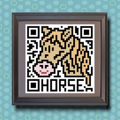 586 Horse Asian zodiac animal as QR code by TwoBananasArt on Etsy, $20.00