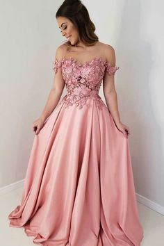 Buy Off Shoulder Appliques Satin Long Prom Dress, Pink Formal Gown wear to a military ball, formal party, graduation or wedding that perfect for you and your unique personality. Best Formal Dresses, Pink Prom Dresses, A Line Prom Dresses, Cheap Prom Dresses, Modest Dresses, Party Dresses, Club Dresses, Classy Evening Gowns, Evening Dresses