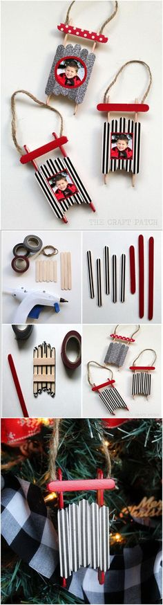 Washi Tape Popsicle Stick Sled Ornaments. These washi tape popsicle stick sled ornaments are a little bit rustic, a little bit modern and a lot of fun. You can make your very own just with some supplies that you can easily find in the craft store.