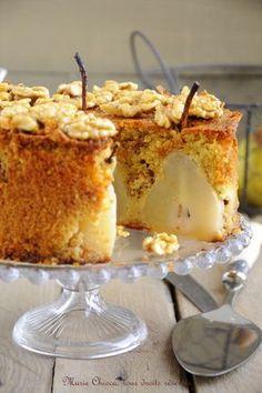 Un gâteau à IG très bas : Gâteau moelleux et léger aux poires, vanille et Noix « caramélisées » au sirop d'agave