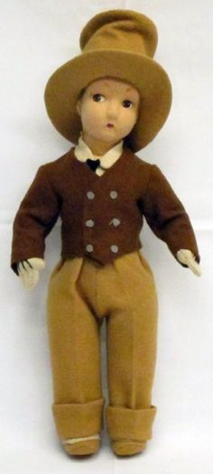 This doll was listed on eBay as a Madame Alexander but I am not sure that it is.  I would like to know if it is tagged.  If not I might doubt that it is an Alexander.  I have never seen one similar made by her, but I could be wrong.  DAVID COPPERFIELD FELT DOLL : Lot 12