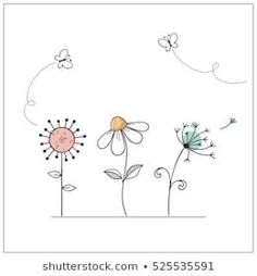 """""""butterfly Doodle"""" : images, photos et images vectorielles de stock Doodle Art, Doodle Images, Doodle Drawings, Easy Drawings, Flower Doodles, Doodle Flowers, Hand Drawn Cards, Envelope Art, Watercolor Cards"""