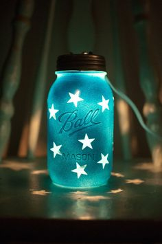 These hand painted mason jar night lights are great for any kids bedroom. The light shines through the stars and makes shapes with the light...