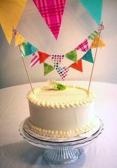 petite pennant banner cake