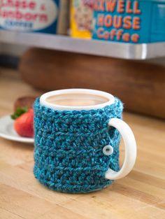 One Stitch Mug Cozy. Free crochet pattern.  Easy.