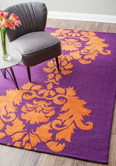 rugs on sale oh no oh no!! // damask purple and orange rug