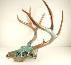 Large Copper Natural Aqua Patina Deer Skull Antlers Art Sculpture. $345.00, via Etsy.
