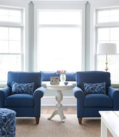 Wall color is . . . Blue chairs are the same color as my sofa in FL.  Ocean Blue Living Room | Maine Cottage #mainecottage