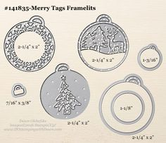 Merry Tags Framelits sizes shared by Dawn Olchefske #dostamping #stampinup