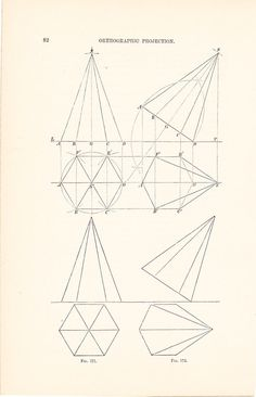 1886 Technical Drawing - Antique Math Geometric Mechanical Drafting Interior Design Blueprint Art Illustration Framing 100 Years Old