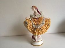 Lovely dresden sitzendorf porcelain lady Seldom Color lace figurine figure