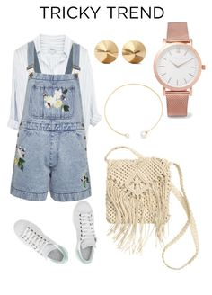 """""""Rosy"""" by kennah-morgan ❤ liked on Polyvore featuring Fallon, Larsson & Jennings, Eddie Borgo, H&M, adidas, French Connection, TrickyTrend and overalls"""