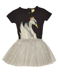 ROCK YOUR BABY TOTS GIRLS SWAN LAKE DRESS - CHARCOAL