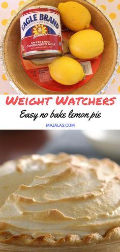 Easy no bake lemon pie // #WeightWatcher #Healthy #SkinnyRecipes #Recipes #Smartpoints #lemon_pie #LowCarb #WeigthWatchersRecipes #weightwatchersdesserts Weight Watchers Desserts, Weight Watchers Meal Plans, Weight Watchers Lunches, Weight Watchers Chicken, Weight Watchers Points, Coconut Meringue Pie, Easy Lemon Meringue Pie, Easy Lemon Pie, No Bake Lemon Pie