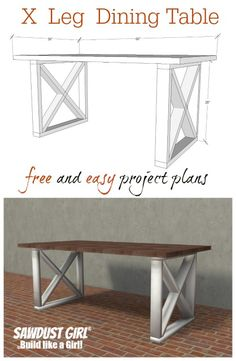 X leg dining table. Easy and inexpensive project from https://sawdustgirl.com