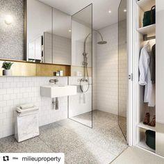 Terrazzo style tiles floor wall cabana