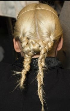 Backstage Beauty: Autumn/Winter 2014 - Givenchy/ At the back, hair was styled in two plaits, which were then knotted at the nape of the neck. Hair Inspo, Hair Inspiration, Braided Hairstyles, Cool Hairstyles, Hairstyle Ideas, Runway Hair, Bridal Braids, Special Occasion Hairstyles, Hair Arrange