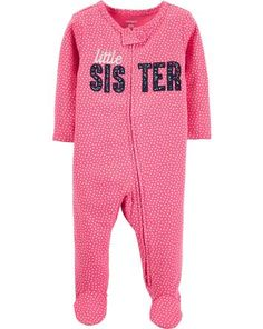 Keep your mini-me snug during tummy time with the Little Sister Sleep & Play Footie from carter's. Designed with built-in footies and a convenient zip, polka dots and an embroidered slogan will make your baby that much more adorable. Baby Girl Pajamas, Carters Baby Girl, Baby Boy, Pj Onesies, Kids Outfits Girls, Girl Outfits, Girls Sleepwear, Baby Warmer, Little Sisters