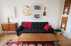 Alana's Brooklyn Railroad House Tour | Apartment Therapy  (good idea - putting the extra chairs for guests up on the wall)