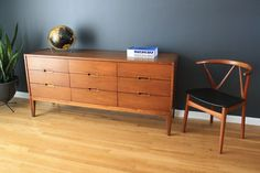 Mid-Century Modern Low Nine Drawer Dresser