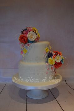 Bright Sugar Flowers and Lace Wedding Cake