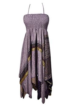 Bohemian Chic Designs Womens 2 in1 Skirt Dress Printed Handkerchief Hem Recycled Silk Two Layer S/M: Amazon.com.au: Fashion