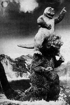 Monster Island's Decisive Battle: Godzilla's Son Godzuki Son Of Godzilla, Old Posters, Street Art, Japanese Monster, Scary Monsters, Famous Monsters, Classic Monsters, Vintage Horror, Scary Movies