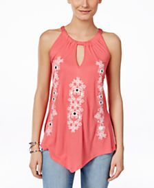 INC International Concepts Embroidered Handkerchief-Hem Halter Top, Only at Macy's