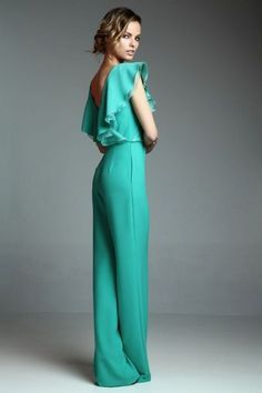 Mod@ en Line@ Jumpsuit Elegante, Turquoise Clothes, Turquoise Outfits, Dresscode, Jumpsuit Outfit, Elegant Outfit, Overall, Dress To Impress, Ideias Fashion