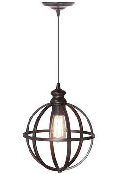 "Globe Bronze Pendant - HomeDecorators.com. Small: 12.5""H x 10"" diameter. Large: 16.5""H x 14"" diameter"