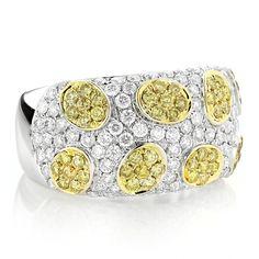 White Yellow Diamond Band 2.38ct 14K Gold Unique Ladies Ring