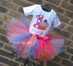 Cupcake Swirl Birthday Girl Birthday Tutu Outfit by TickleMyTutu