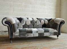 Handmade Bespoke Ghost Walton Patchwork Chesterfield Sofa